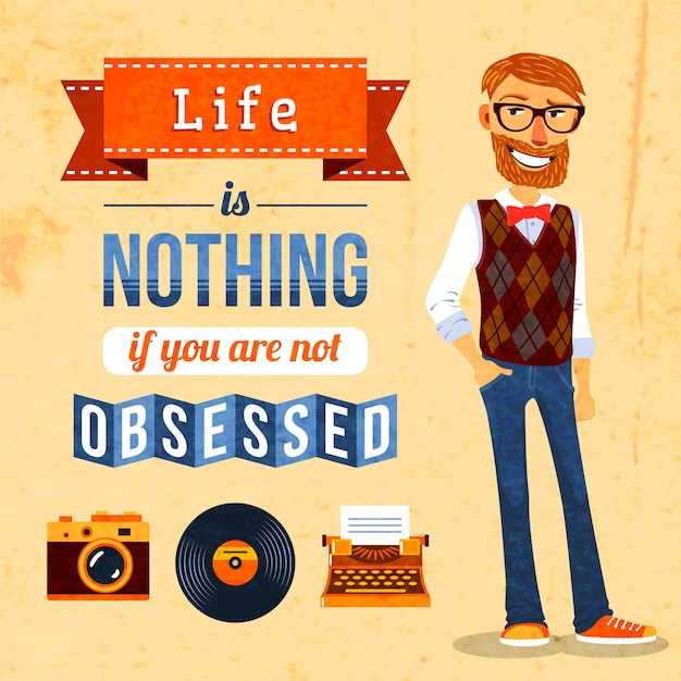 Hipster culture poster Free Vector