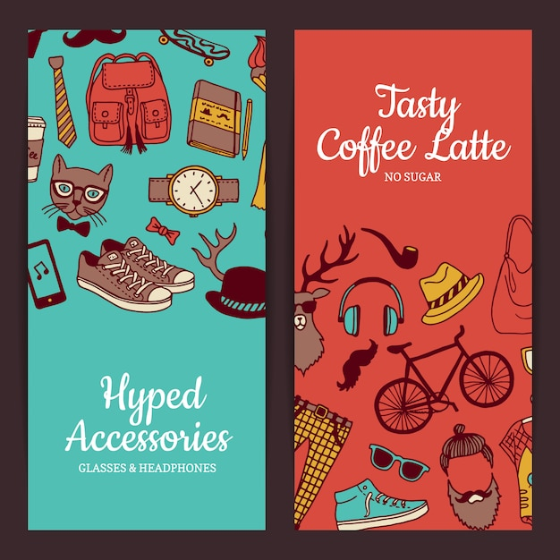 Hipster doodle icons banners Premium Vector