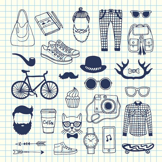 Hipster doodle icons on cell sheet Premium Vector