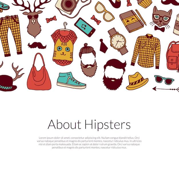 Hipster elements banner Premium Vector