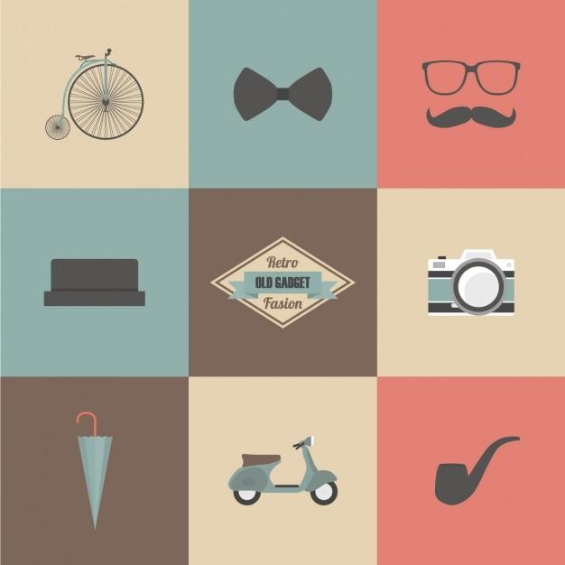 Hipster elements design Free Vector
