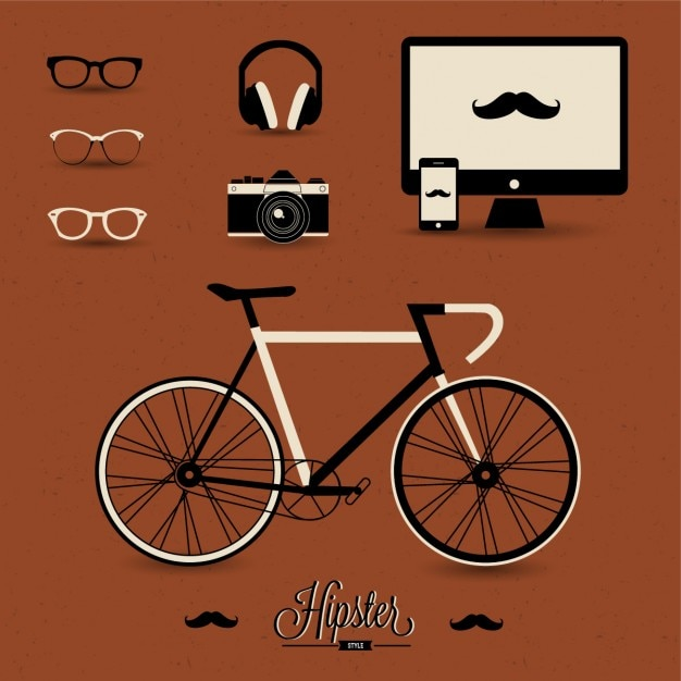 Hipster elements on a brown background