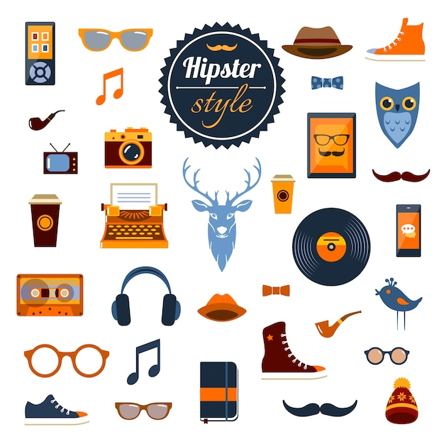 Hipster elements set Free Vector