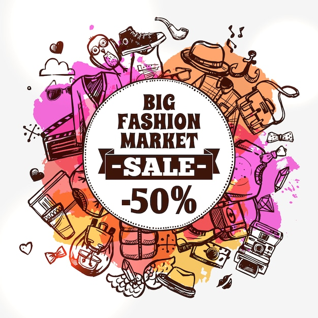 Hipster fashion clothing discount doodle icon Free Vector