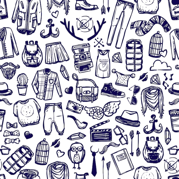 Hipster fashion clothing doodle seamless pattern Free Vector