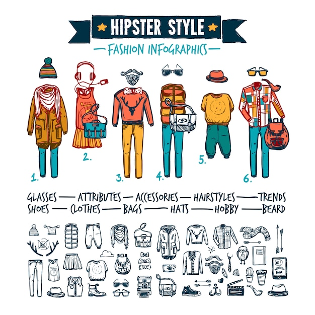 Hipster fashion clothing infographic doodle banner Free Vector