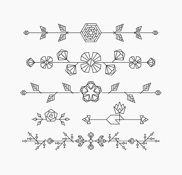 Hipster geometrical flowers, floral decorative design elements, set of isolated ornamental headers, dividers Premium Vector