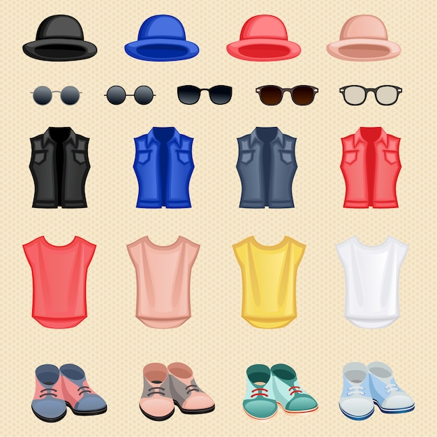 Hipster girl accessories Free Vector