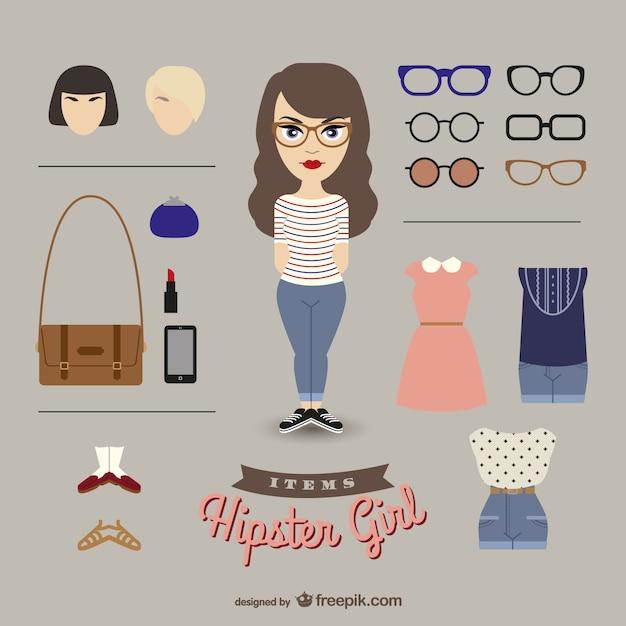 Hipster girl dress up girl Free Vector