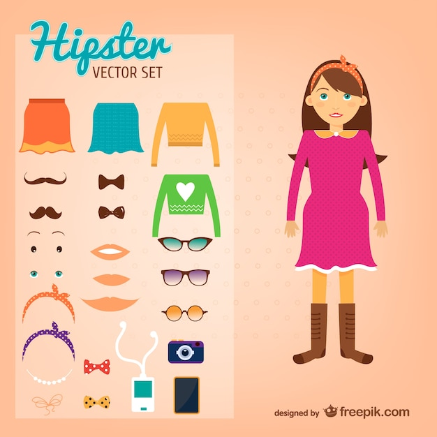 Hipster girl and her elements Free Vector