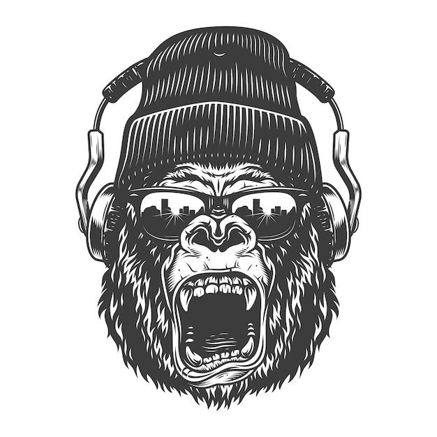 Хипстер горила лицо Бесплатные векторы