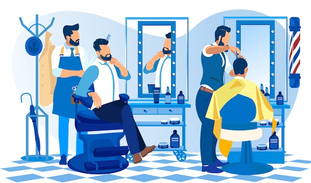 Hipster grooming place barber doing client haircut Premium Vector