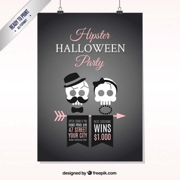 hipster halloween poster vector free download