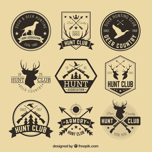 Hipster hunting badges Free Vector