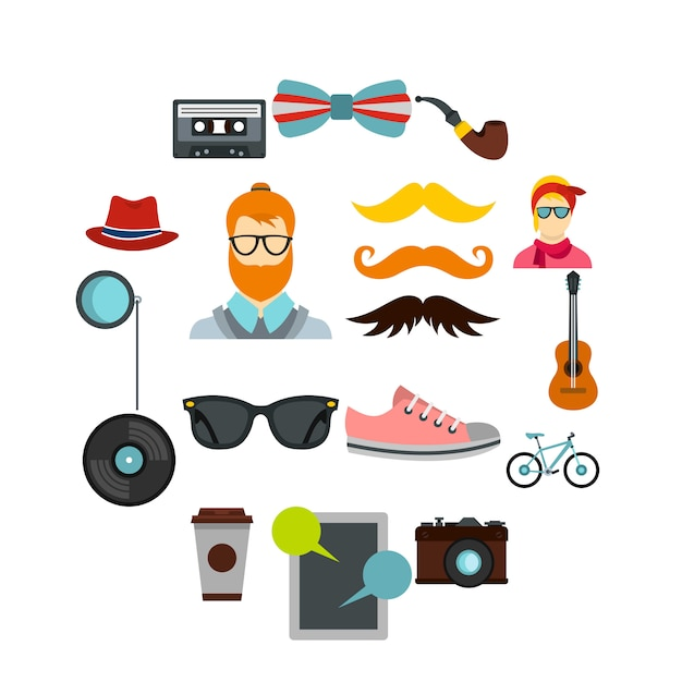 Hipster icons set, flat style Premium Vector