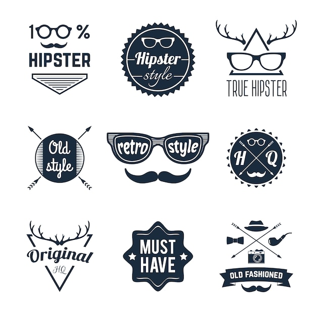 Hipster label set Free Vector