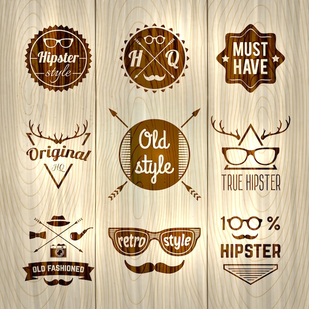 Hipster labels wooden Free Vector