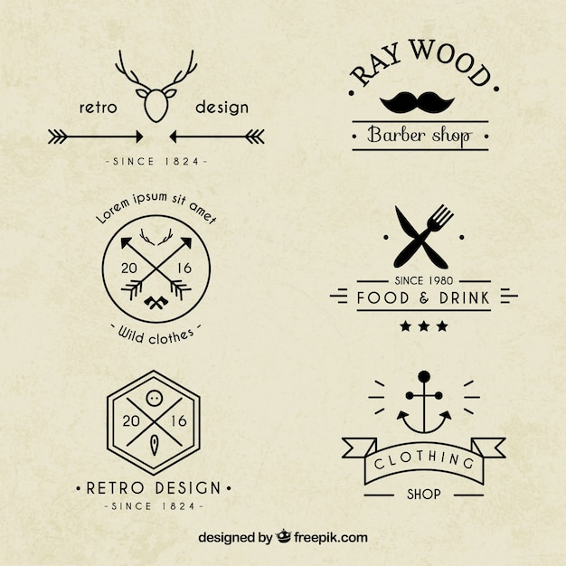 Hipster logos collection Vector | Premium Download