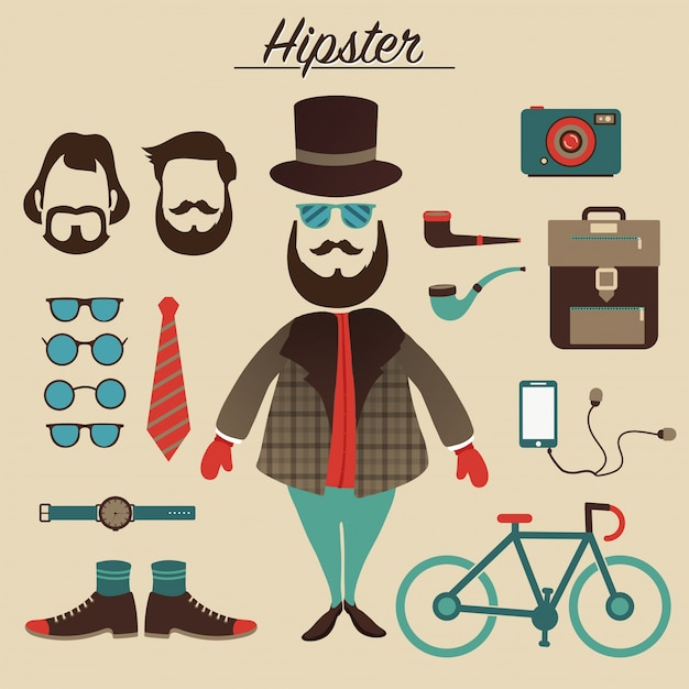 Hipster male character with hipster elements and icons Premium Vector