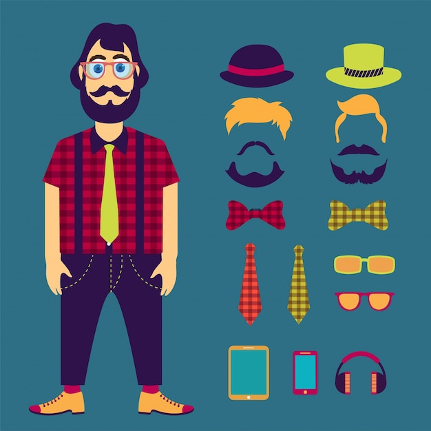 Hipster male character with hipster elements and icons. Premium Vector