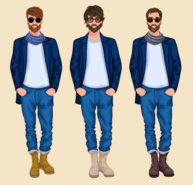 Hipster man character set Premium Vector
