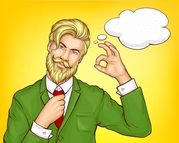 Hipster man in green suit cartoon vector Free Vector