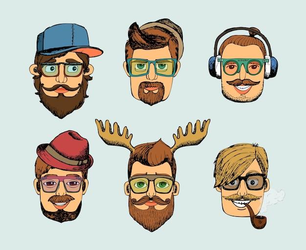 Хипстерский мужчина возглавляет аватарки с усами, бородой, очками, трубкой и рогами Бесплатные векторы