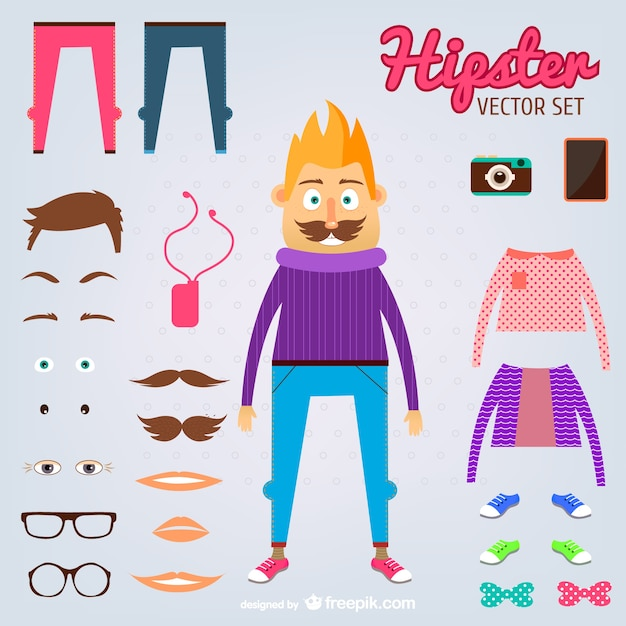 Hipster man and his elements Free Vector
