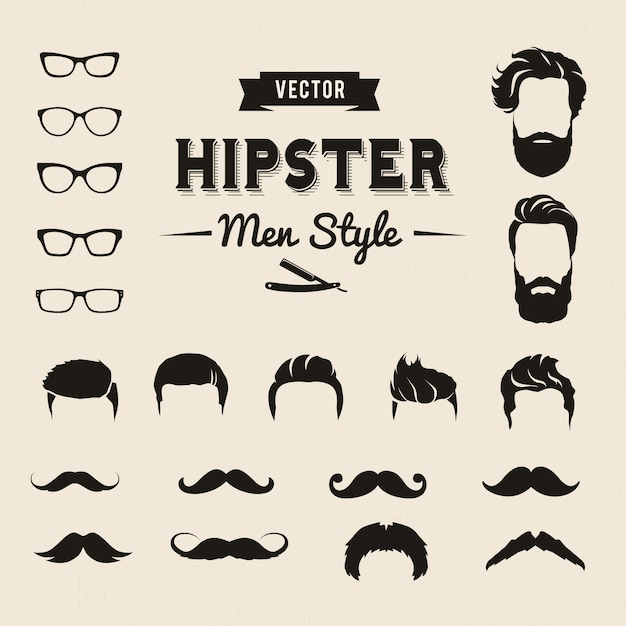 Hipster men elements Free Vector