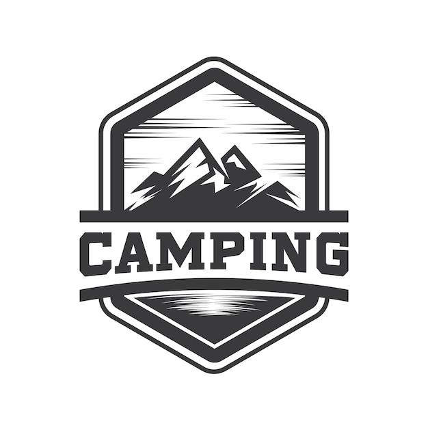 Hipster mountain and camping logo vector Vector | Premium ...