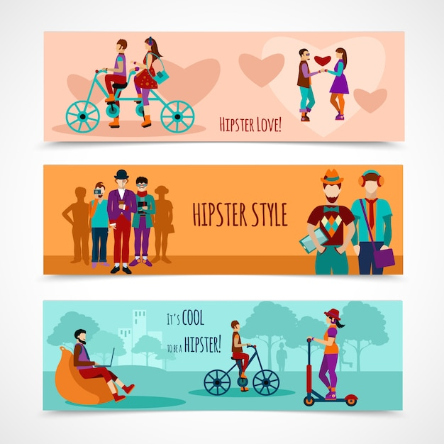 Hipster people flat banner set Free Vector