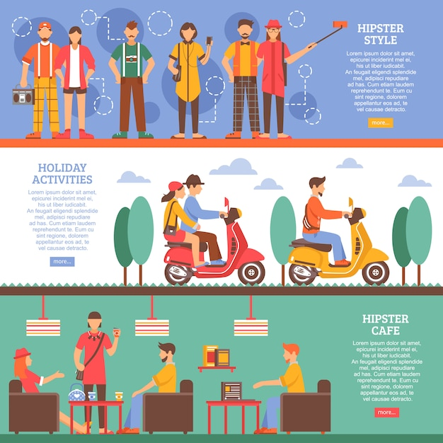 Hipster people horizontal banners Free Vector