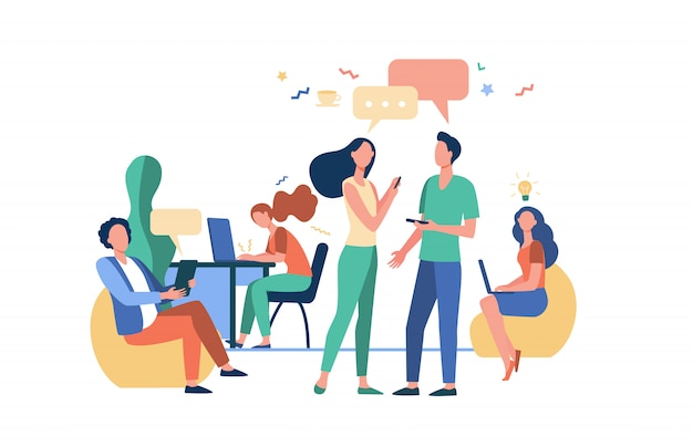 Hipster people talking and using computers in co-working Free Vector