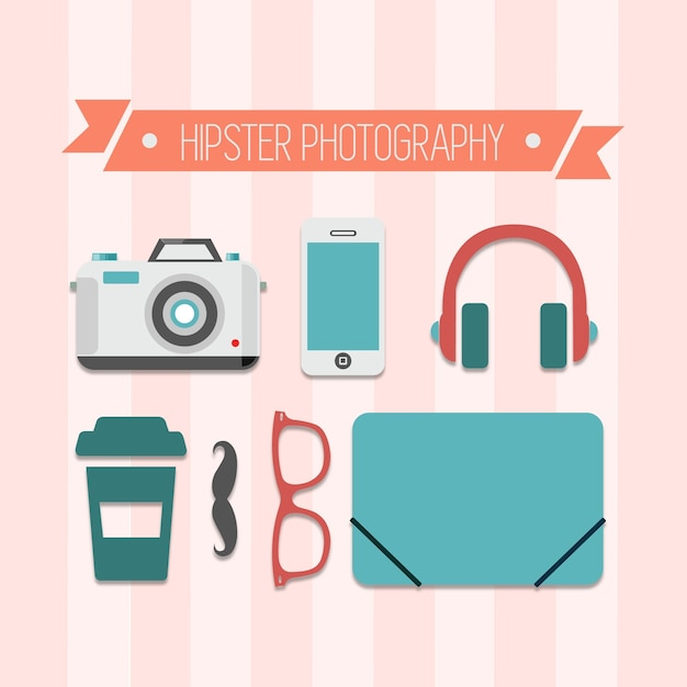 Hipster photography elements pack Free Vector