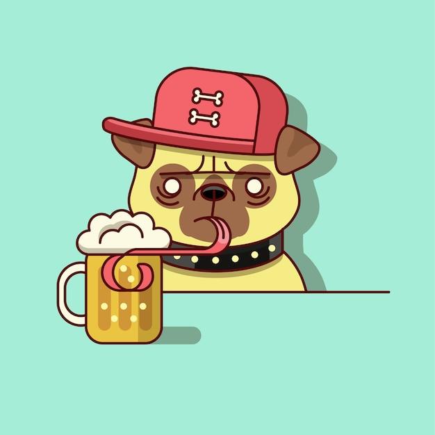 Питьевая пива hipster pug Premium векторы