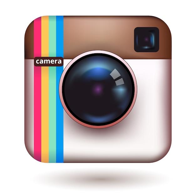 流行に敏感なリアルな写真カメラアイコン 無料ベクター