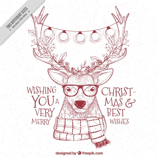 Hipster Reindeer Sketchy Background With Christmas Messages Free Vector