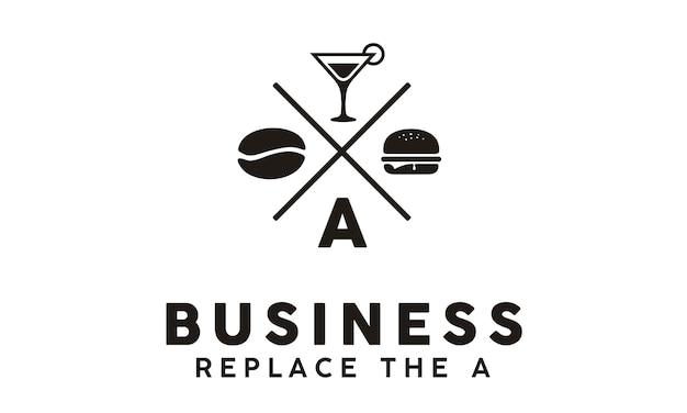 Hipster retro burger cafe logo Premium Vector