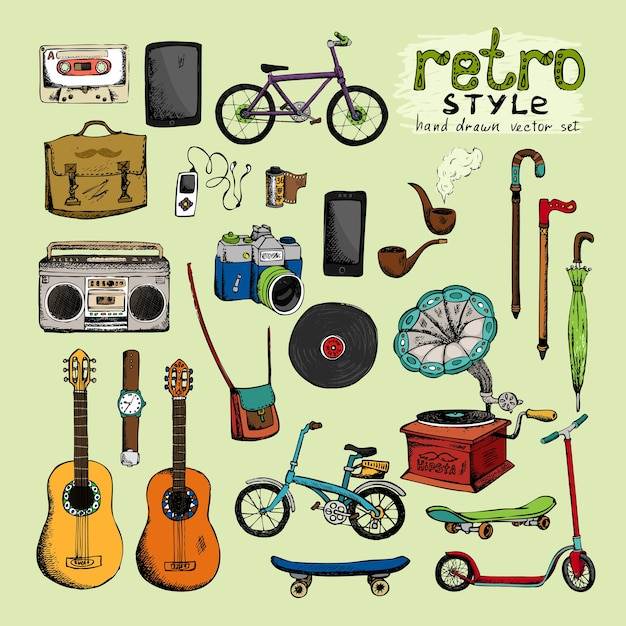 Hipster retro style objects: camera umbrella bicycle clock pipe Free Vector