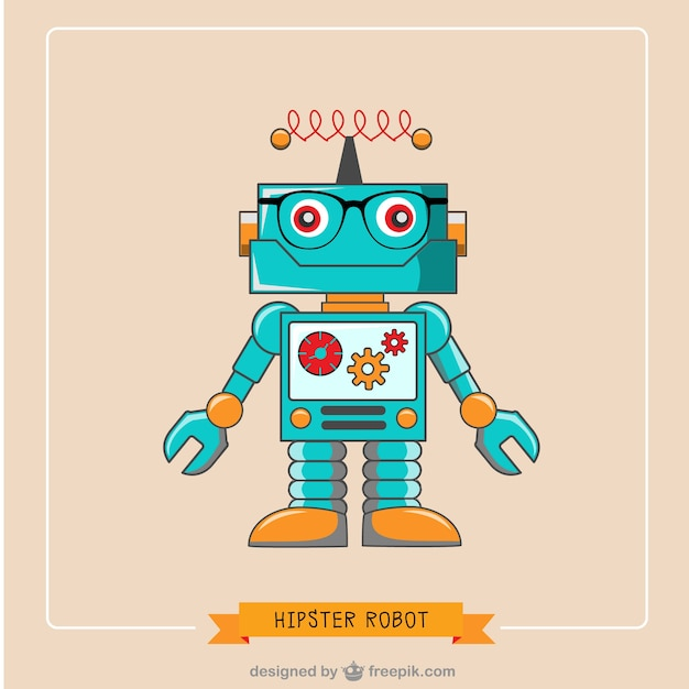 Hipster robot Free Vector
