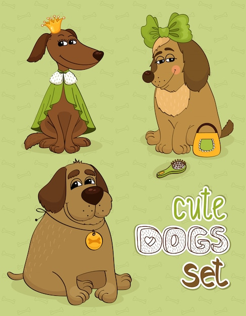 Hipster set of cute funny dogs Free Vector