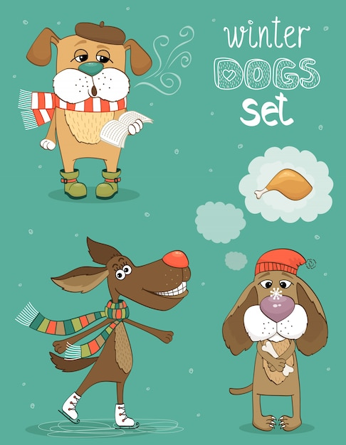 Hipster set of cute winter fashion dogs Free Vector