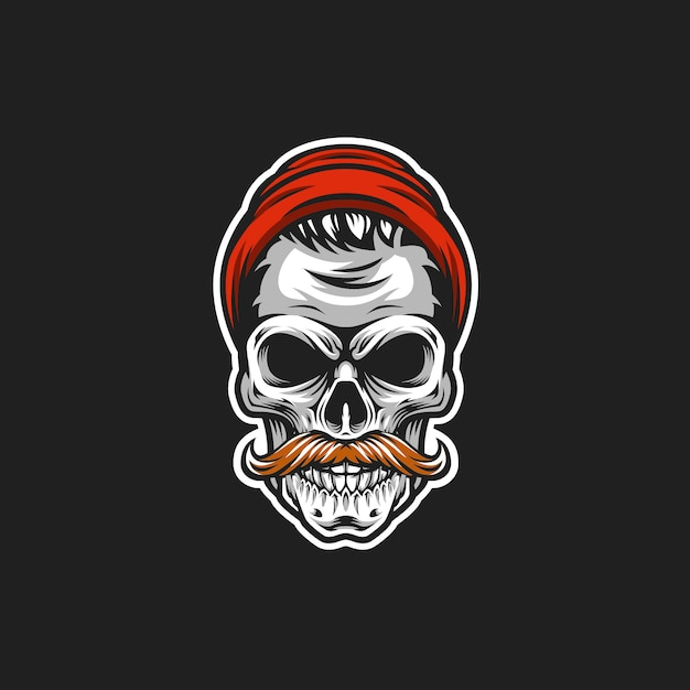 Hipster skull vector head illustration Premium Vector
