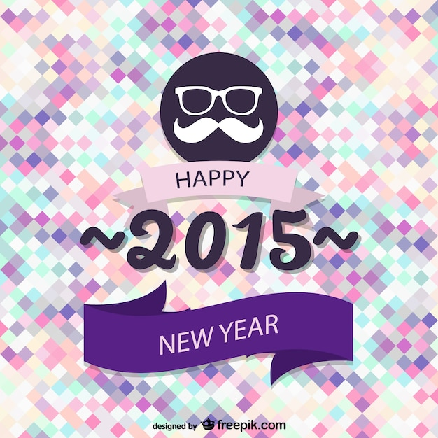 Hipster style new year card Free Vector