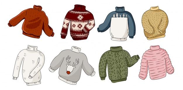 Набор свитеров hipster Premium векторы