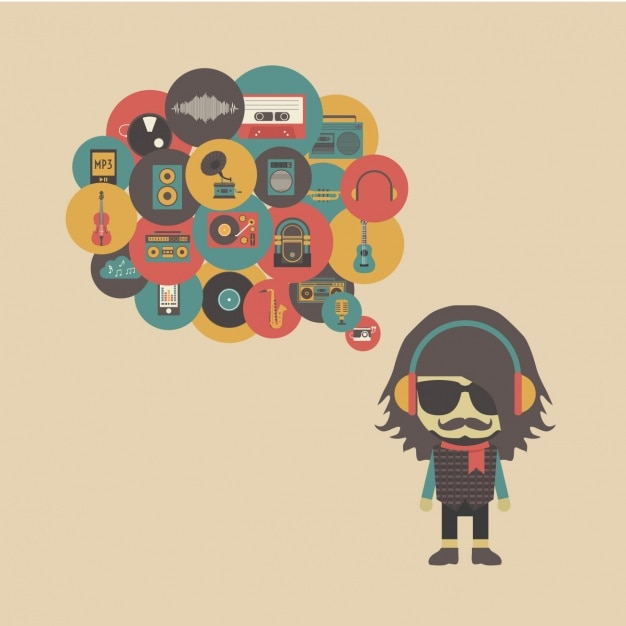 Hipster Bands: Hipster Thinking About Music Vector