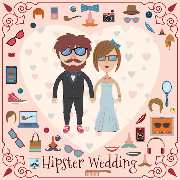 Hipster wedding card Premium Vector