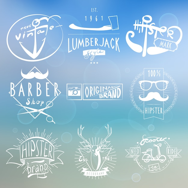 Hipster white vintage labels background Free Vector