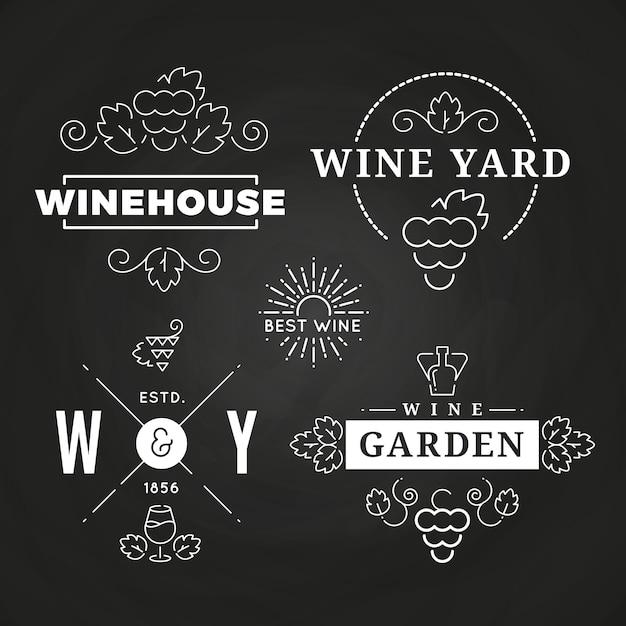 Hipster wine logo or baners design on chalkboard Premium Vector