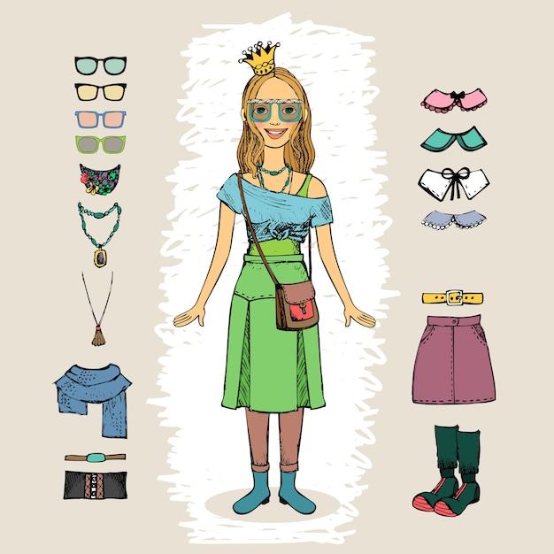 Donna hipster con set di caratteri corona e occhiali Vettore gratuito
